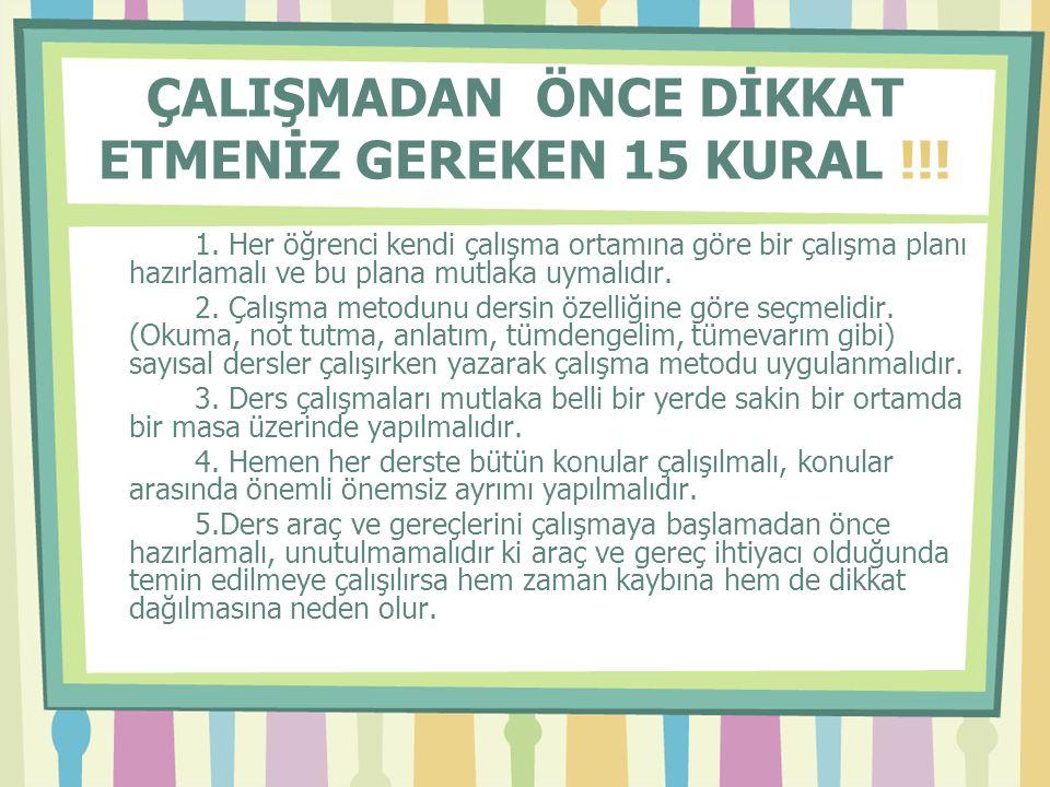ÇALIŞMADAN ÖNCE DİKKAT ETMENİZ GEREKEN 15 KURAL !!.