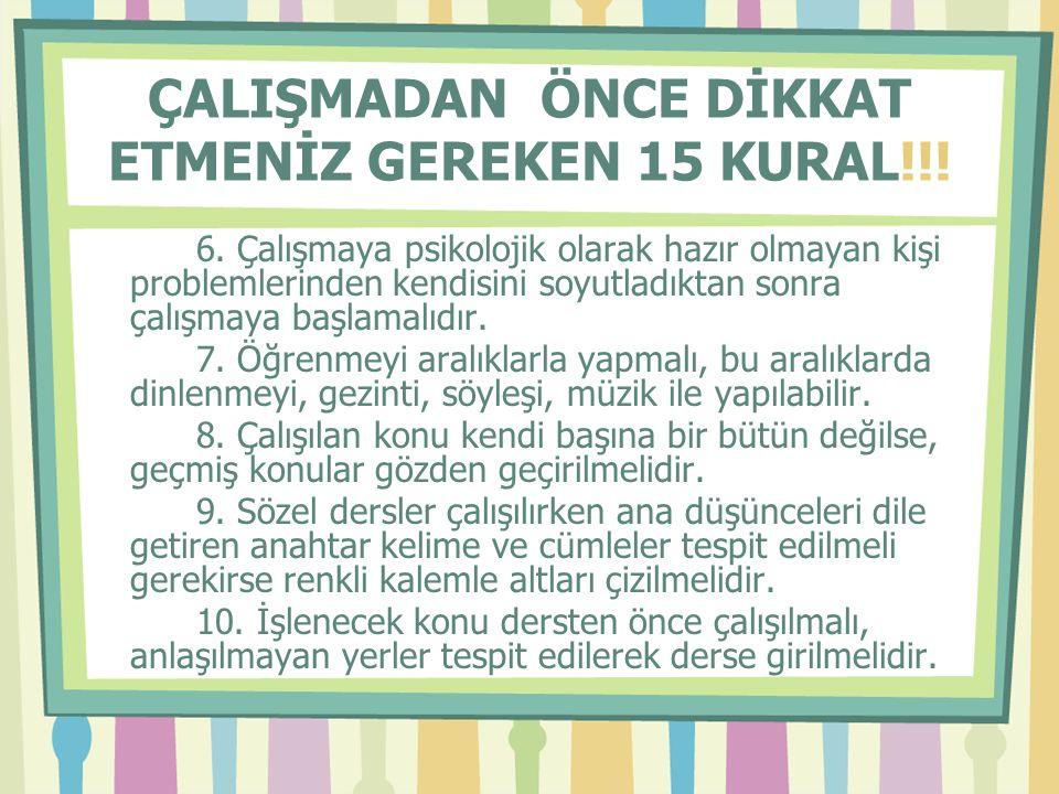 ÇALIŞMADAN ÖNCE DİKKAT ETMENİZ GEREKEN 15 KURAL!!.