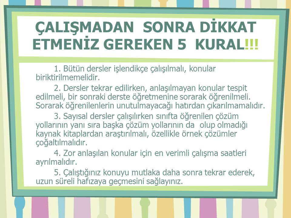 ÇALIŞMADAN SONRA DİKKAT ETMENİZ GEREKEN 5 KURAL!!.