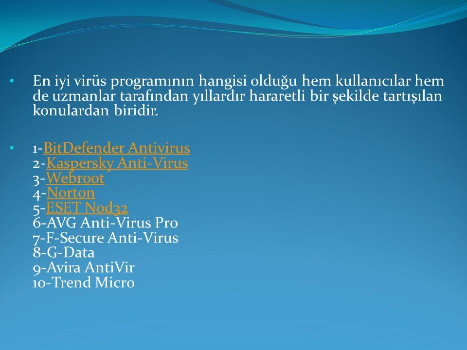 Antivirüs çeşitlerini inceleyecek olursak şu şekilde gösterebilir.