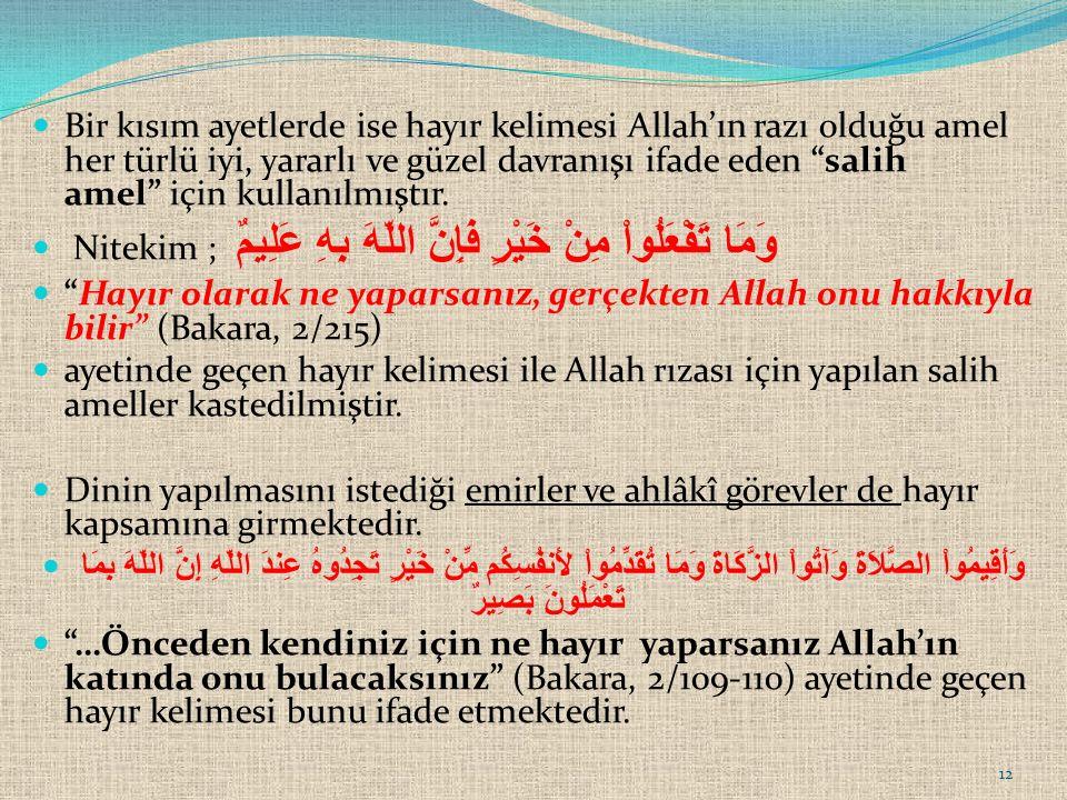 """Bir kısım ayetlerde ise hayır kelimesi Allah'ın razı olduğu amel her türlü iyi, yararlı ve güzel davranışı ifade eden """"salih amel"""" için kullanılmıştır"""