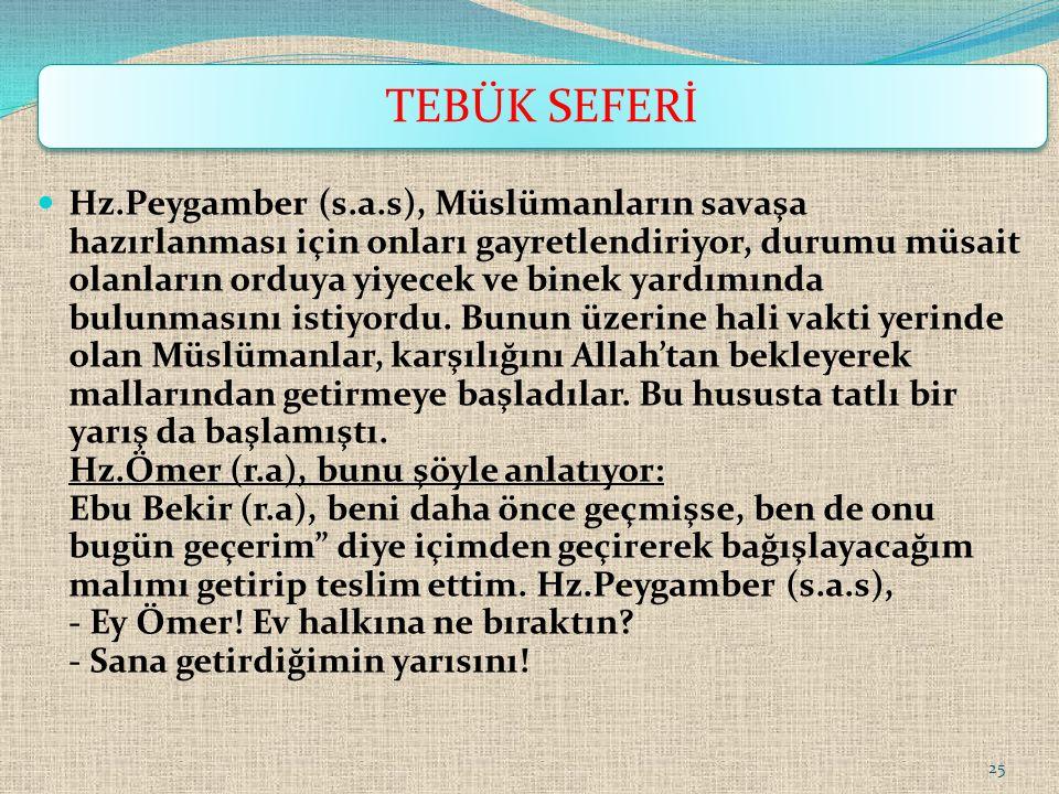 Hz.Peygamber (s.a.s), Müslümanların savaşa hazırlanması için onları gayretlendiriyor, durumu müsait olanların orduya yiyecek ve binek yardımında bulun