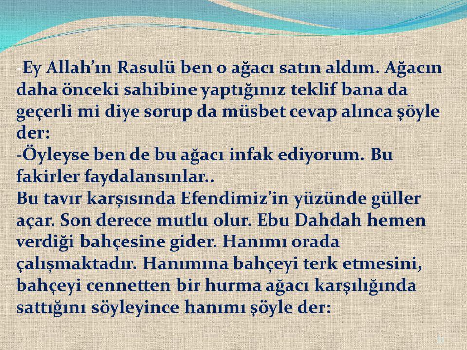 33 -Ey Allah'ın Rasulü ben o ağacı satın aldım. Ağacın daha önceki sahibine yaptığınız teklif bana da geçerli mi diye sorup da müsbet cevap alınca şöy