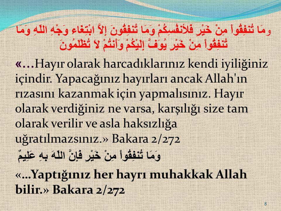 «Hayr», her zaman hayır değildir.Ancak Allah rızası gözetilerek kullanılırsa hayır sayılır.