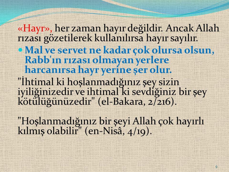 «Hayr», her zaman hayır değildir. Ancak Allah rızası gözetilerek kullanılırsa hayır sayılır. Mal ve servet ne kadar çok olursa olsun, Rabb'ın rızası o