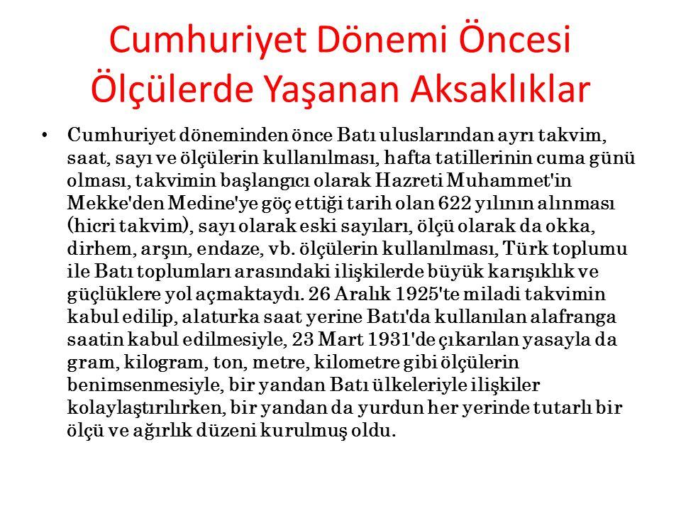 Atatürk Önderliğinde Ölçme Birimlerinde Yaptığı Yenilikler Nelerdir.