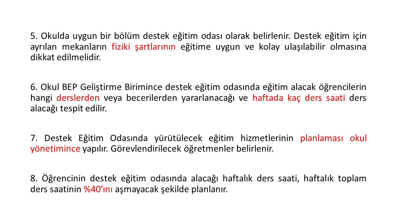 DESTEK EĞİTİM ODASI HAFTALIK DERS PROGRAMI ÖRNEĞİ GÜNLER1.