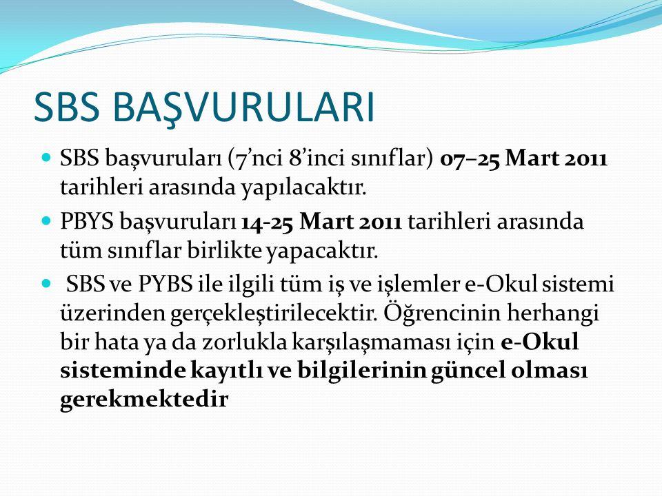 SBS BAŞVURULARI SBS başvuruları (7'nci 8'inci sınıflar) 07–25 Mart 2011 tarihleri arasında yapılacaktır.