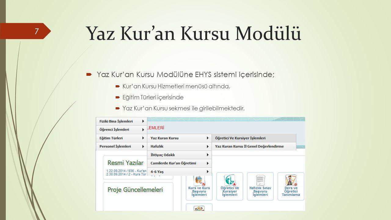 Yaz Kur'an Kursu Modülü  Yaz Kur'an Kursu Modülüne EHYS sistemi içerisinde;  Kur'an Kursu Hizmetleri menüsü altında,  Eğitim Türleri içerisinde  Yaz Kur'an Kursu sekmesi ile girilebilmektedir.