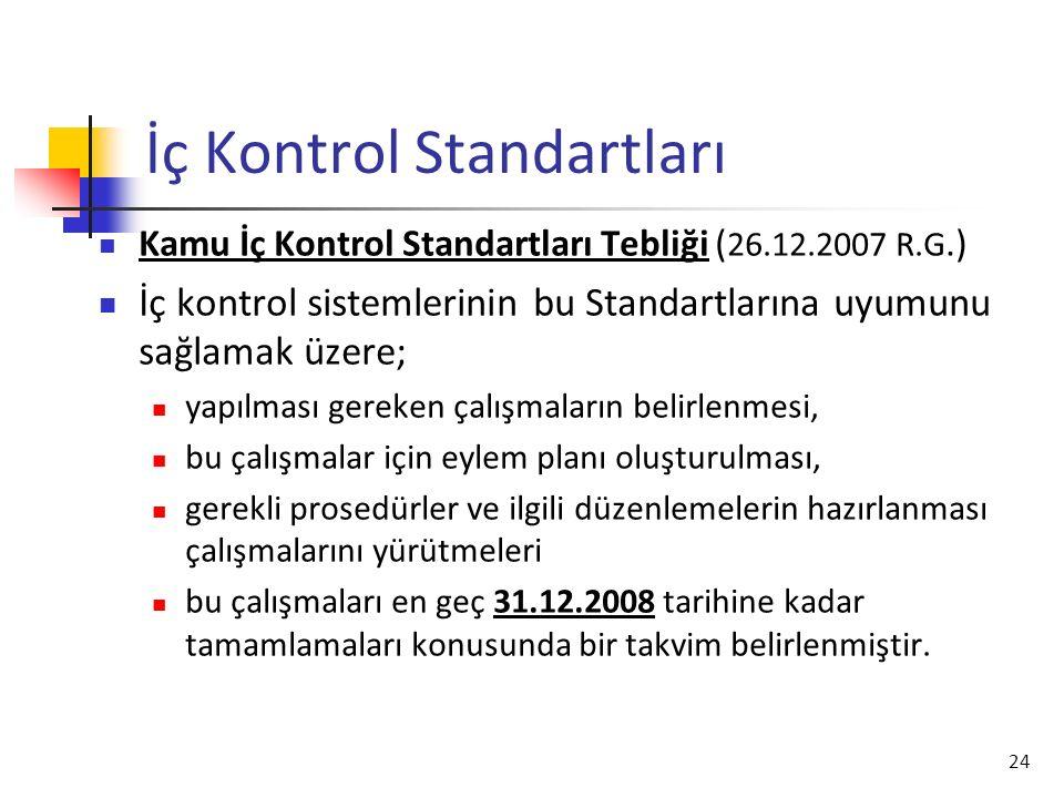 24 İç Kontrol Standartları Kamu İç Kontrol Standartları Tebliği ( 26.12.2007 R.G.) İç kontrol sistemlerinin bu Standartlarına uyumunu sağlamak üzere;