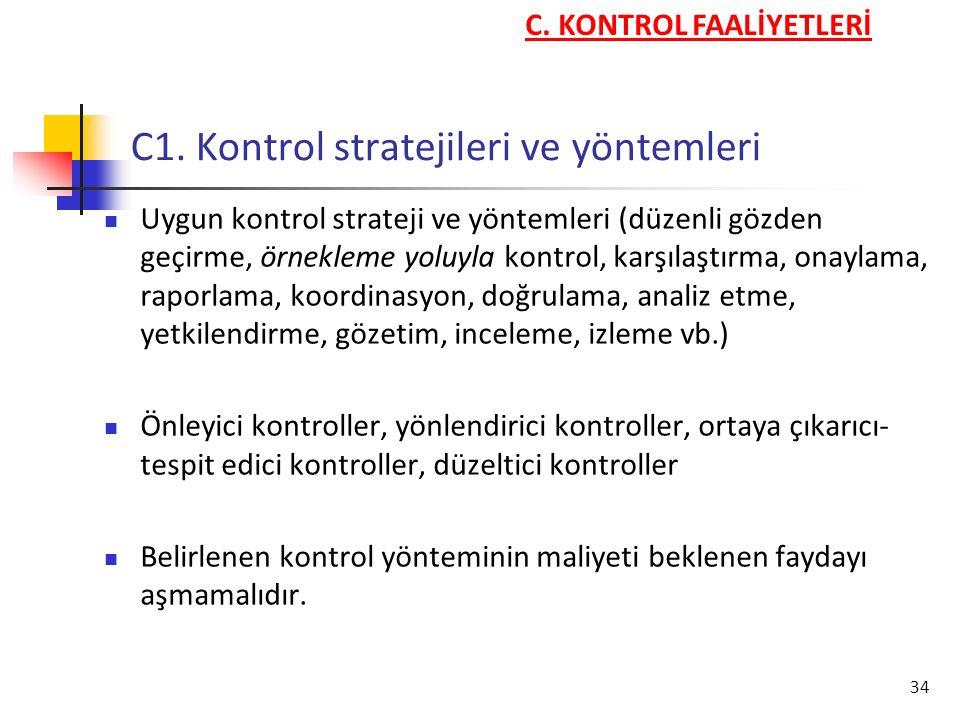 34 C1. Kontrol stratejileri ve yöntemleri Uygun kontrol strateji ve yöntemleri (düzenli gözden geçirme, örnekleme yoluyla kontrol, karşılaştırma, onay