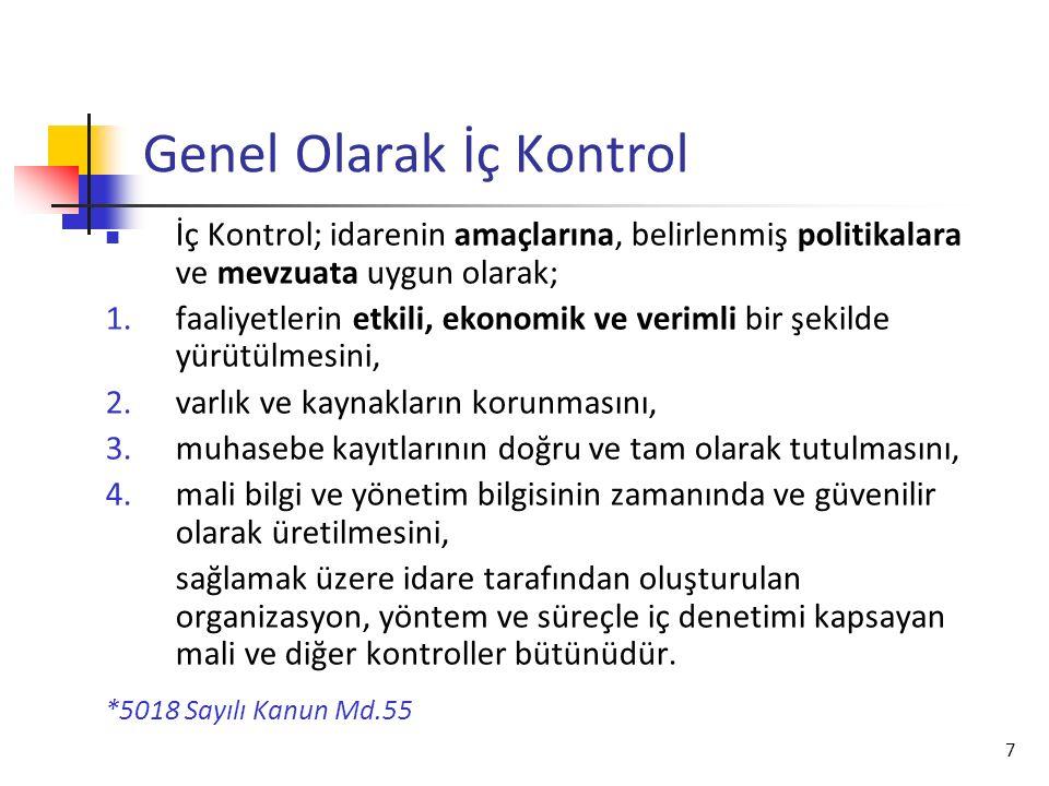 7 Genel Olarak İç Kontrol İç Kontrol; idarenin amaçlarına, belirlenmiş politikalara ve mevzuata uygun olarak; 1.faaliyetlerin etkili, ekonomik ve veri