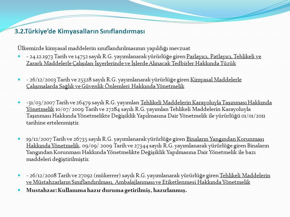 3.2.Türkiye'de Kimyasalların Sınıflandırması Ülkemizde kimyasal maddelerin sınıflandırılmasının yapıldığı mevzuat - 24.12.1973 Tarih ve 14752 sayılı R.G.