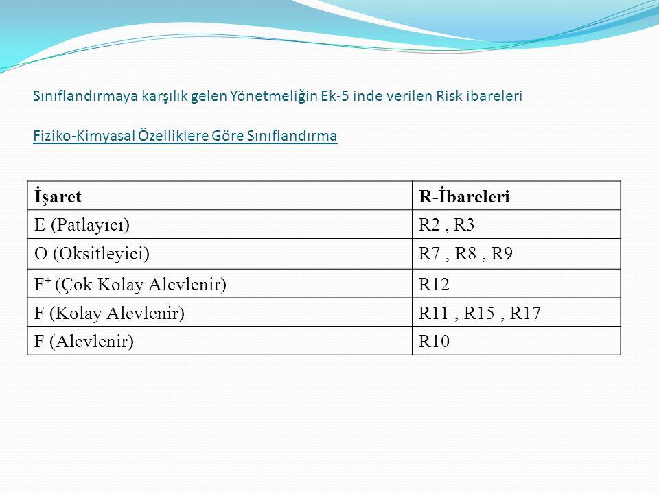 Sınıflandırmaya karşılık gelen Yönetmeliğin Ek-5 inde verilen Risk ibareleri Fiziko-Kimyasal Özelliklere Göre Sınıflandırma İşaretR-İbareleri E (Patlayıcı)R2, R3 O (Oksitleyici)R7, R8, R9 F + (Çok Kolay Alevlenir)R12 F (Kolay Alevlenir)R11, R15, R17 F (Alevlenir)R10