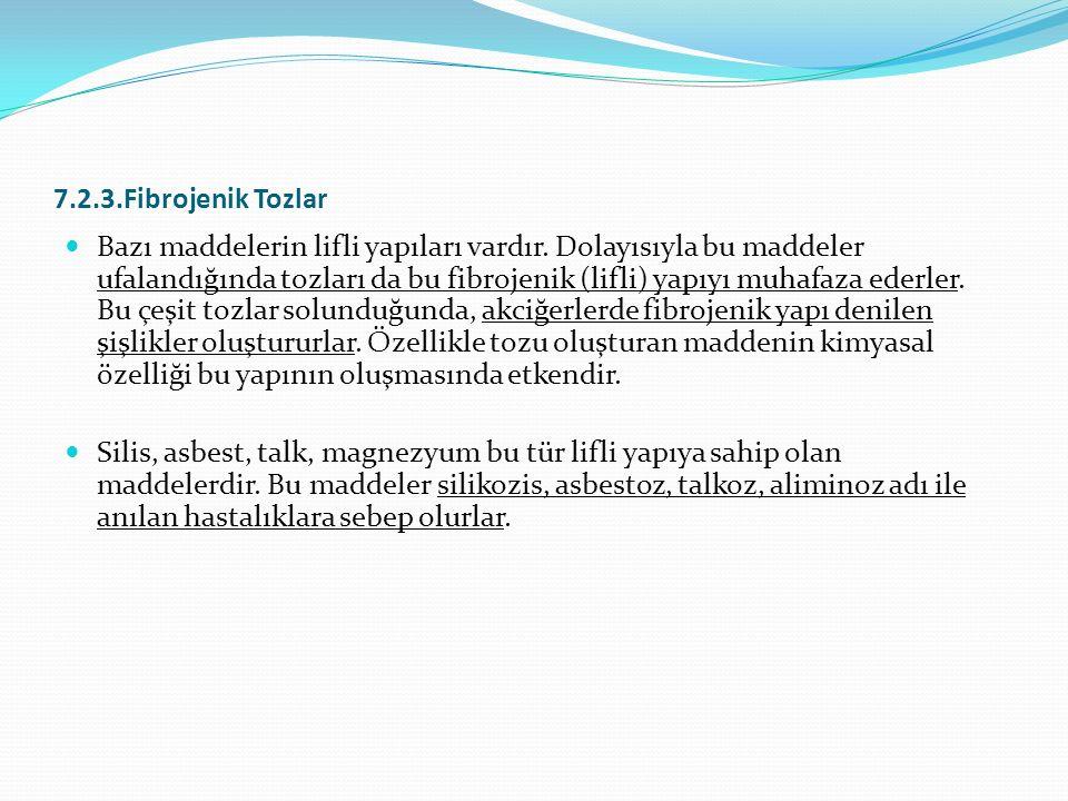 7.2.3.Fibrojenik Tozlar Bazı maddelerin lifli yapıları vardır.