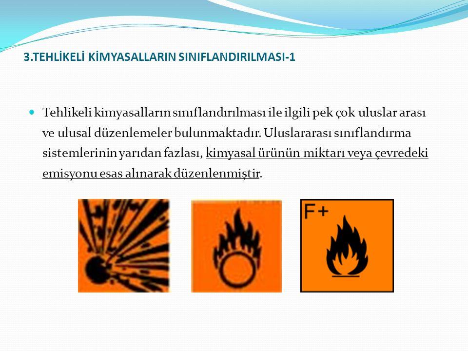 3.TEHLİKELİ KİMYASALLARIN SINIFLANDIRILMASI-1 Tehlikeli kimyasalların sınıflandırılması ile ilgili pek çok uluslar arası ve ulusal düzenlemeler bulunmaktadır.