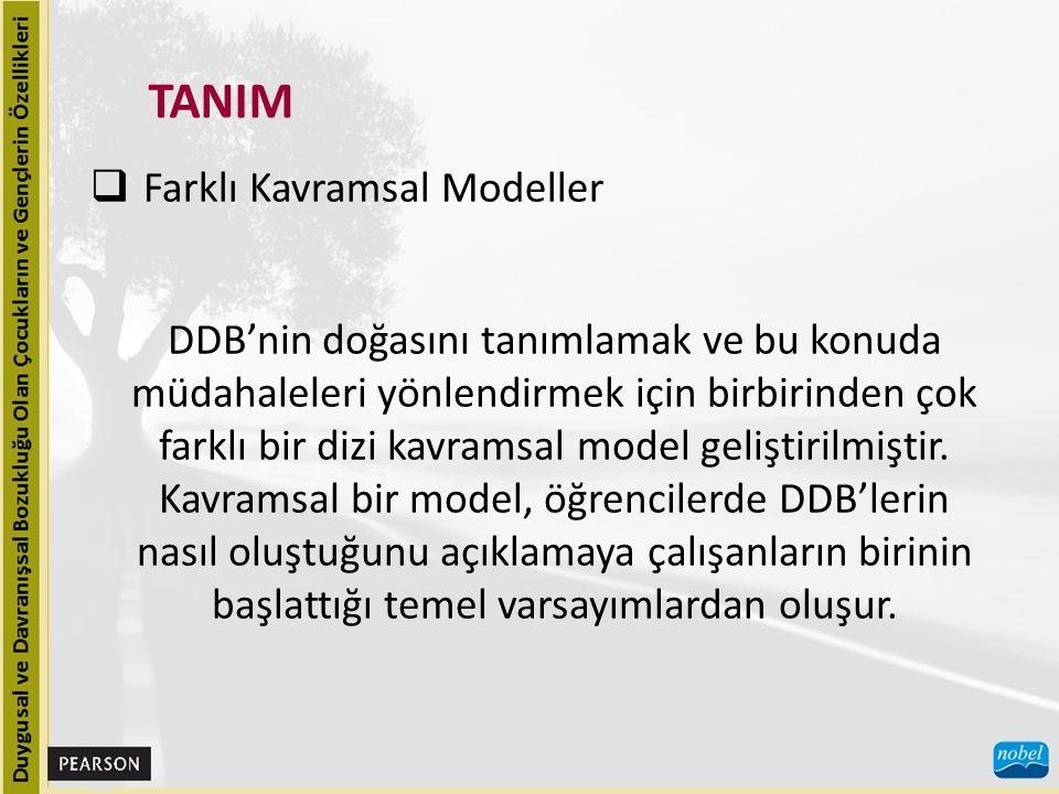  Farklı Kavramsal Modeller DDB'nin doğasını tanımlamak ve bu konuda müdahaleleri yönlendirmek için birbirinden çok farklı bir dizi kavramsal model ge
