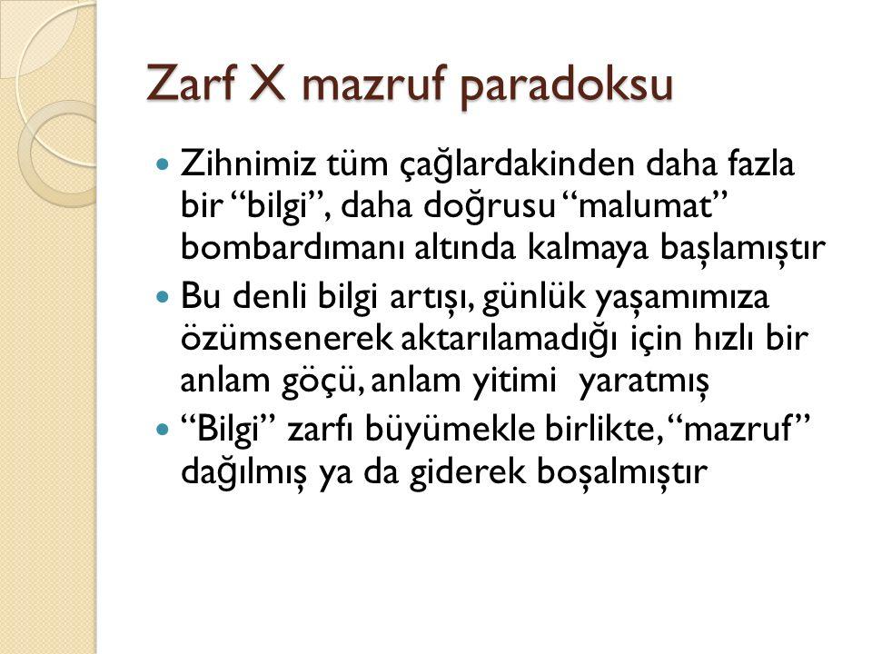 """Zarf X mazruf paradoksu Zihnimiz tüm ça ğ lardakinden daha fazla bir """"bilgi"""", daha do ğ rusu """"malumat"""" bombardımanı altında kalmaya başlamıştır Bu den"""