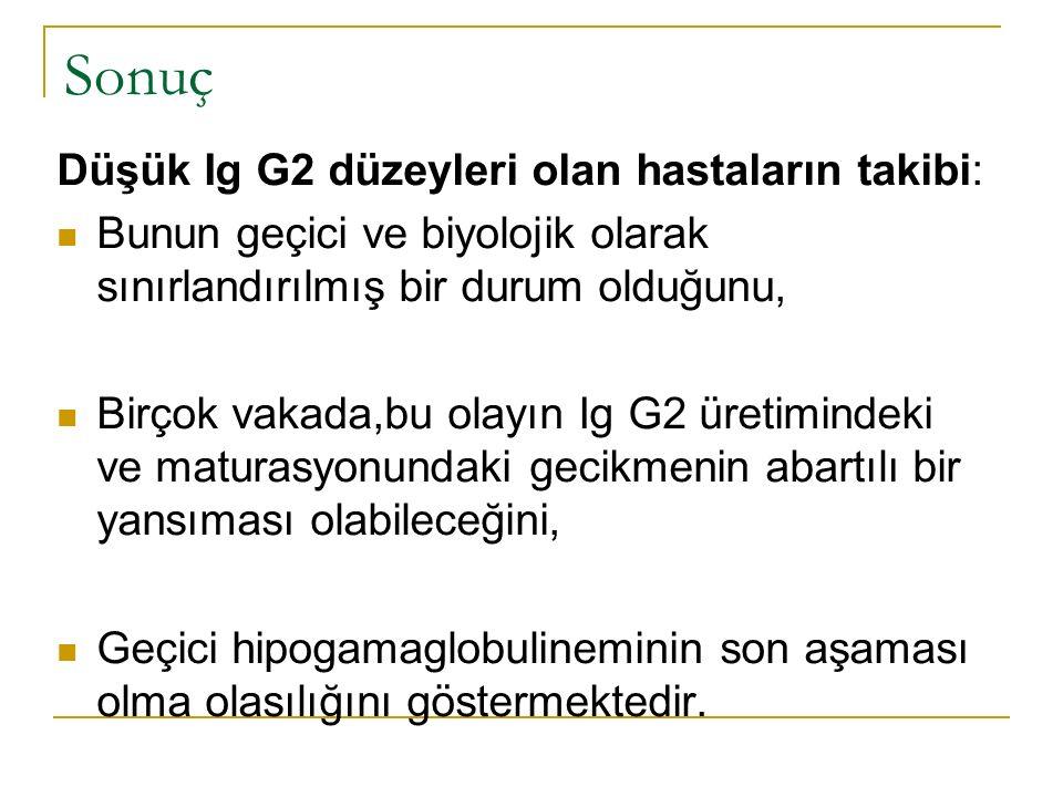 Düşük Ig G2 düzeyleri olan hastaların takibi: Bunun geçici ve biyolojik olarak sınırlandırılmış bir durum olduğunu, Birçok vakada,bu olayın Ig G2 üretimindeki ve maturasyonundaki gecikmenin abartılı bir yansıması olabileceğini, Geçici hipogamaglobulineminin son aşaması olma olasılığını göstermektedir.