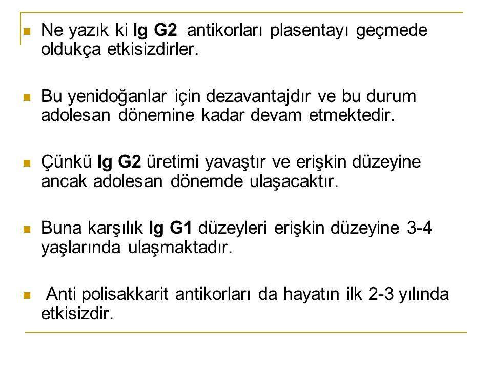 Ne yazık ki Ig G2 antikorları plasentayı geçmede oldukça etkisizdirler.