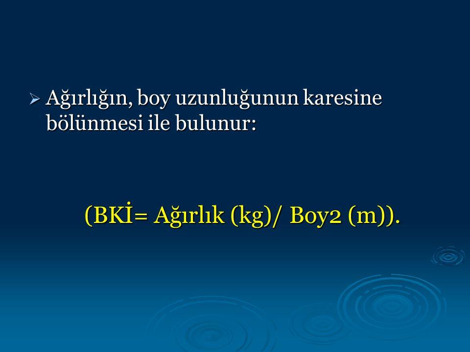  Ağırlığın, boy uzunluğunun karesine bölünmesi ile bulunur: (BKİ= Ağırlık (kg)/ Boy2 (m)).
