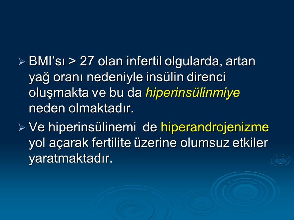  BMI'sı > 27 olan infertil olgularda, artan yağ oranı nedeniyle insülin direnci oluşmakta ve bu da hiperinsülinmiye neden olmaktadır.