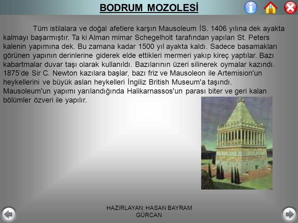 HAZIRLAYAN: HASAN BAYRAM GÜRCAN BODRUM MOZOLESİ Tüm istilalara ve doğal afetlere karşın Mausoleum İS.