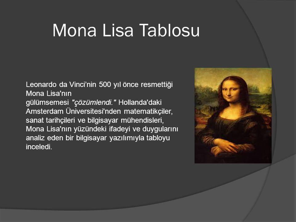 Mona Lisa Tablosu Leonardo da Vinci'nin 500 yıl önce resmettiği Mona Lisa nın gülümsemesi çözümlendi. Hollanda daki Amsterdam Üniversitesi nden matematikçiler, sanat tarihçileri ve bilgisayar mühendisleri, Mona Lisa nın yüzündeki ifadeyi ve duygularını analiz eden bir bilgisayar yazılımıyla tabloyu inceledi.
