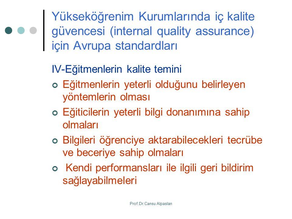 Yükseköğrenim Kurumlarında iç kalite güvencesi (internal quality assurance) için Avrupa standardları IV-Eğitmenlerin kalite temini Eğitmenlerin yeterl