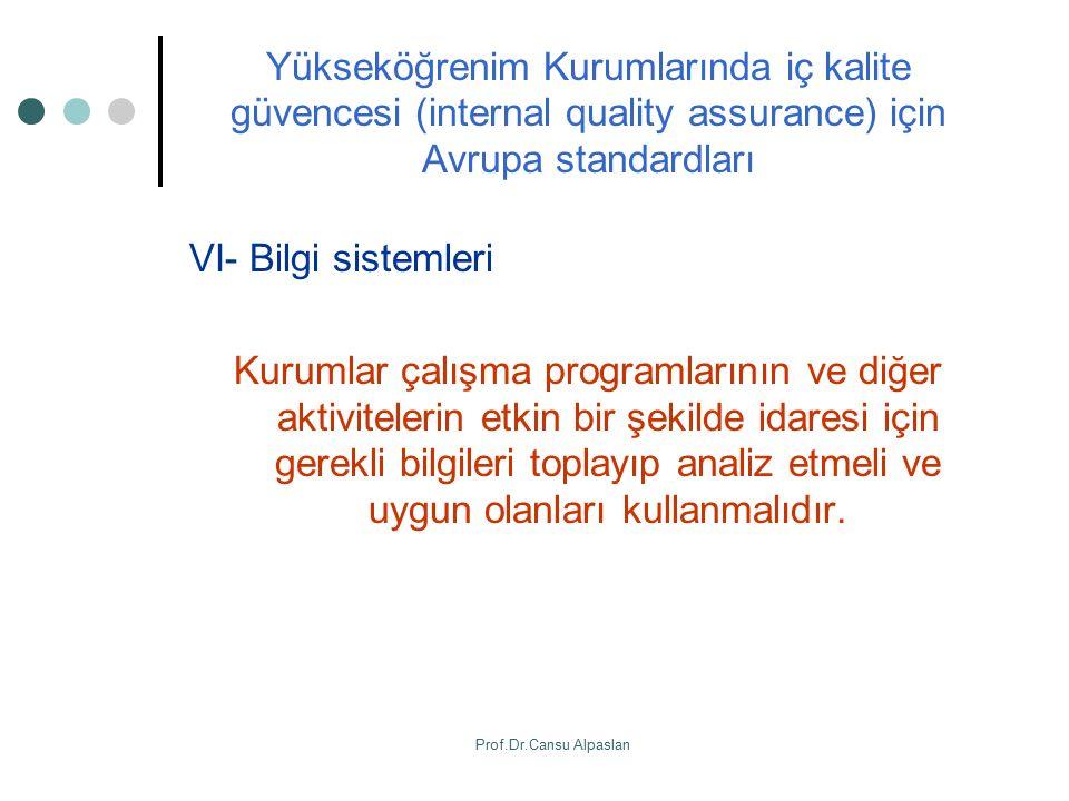 Yükseköğrenim Kurumlarında iç kalite güvencesi (internal quality assurance) için Avrupa standardları VI- Bilgi sistemleri Kurumlar çalışma programları