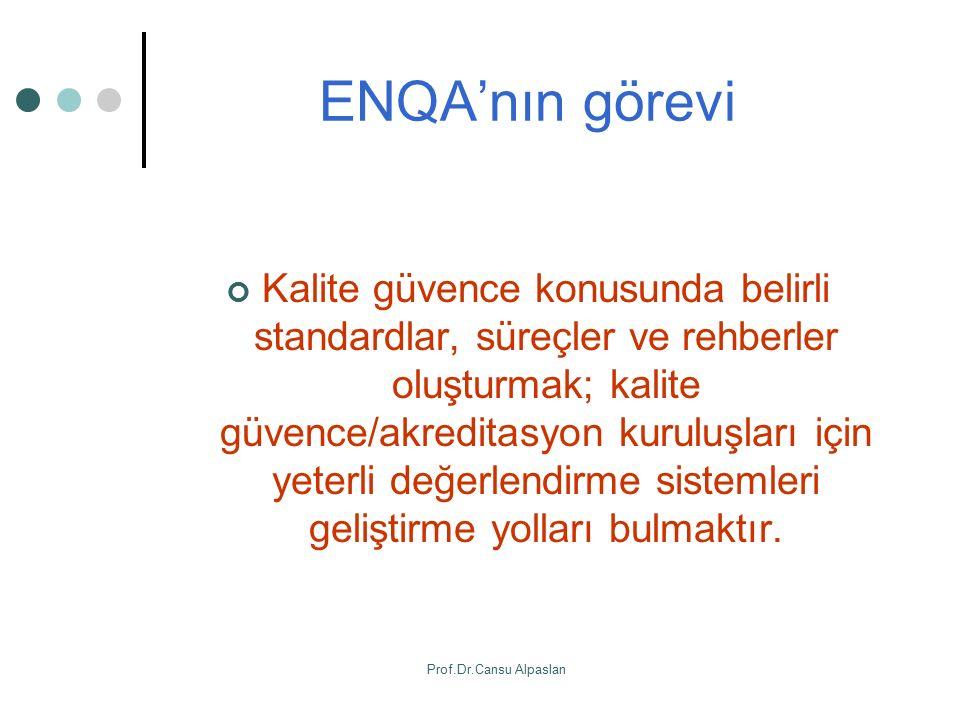 ENQA'nın görevi Kalite güvence konusunda belirli standardlar, süreçler ve rehberler oluşturmak; kalite güvence/akreditasyon kuruluşları için yeterli d