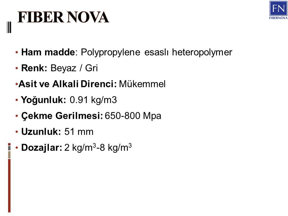Ham madde: Polypropylene esaslı heteropolymer Renk: Beyaz / Gri Asit ve Alkali Direnci: Mükemmel Yoğunluk: 0.91 kg/m3 Çekme Gerilmesi: 650-800 Mpa Uzunluk: 51 mm Dozajlar: 2 kg/m 3 -8 kg/m 3