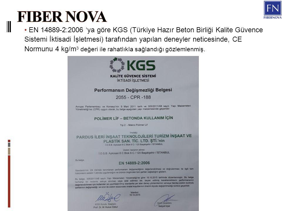 EN 14889-2:2006 'ya göre KGS (Türkiye Hazır Beton Birliği Kalite Güvence Sistemi İktisadi İşletmesi) tarafından yapılan deneyler neticesinde, CE Normunu 4 kg/m 3 değeri ile rahatlıkla sağlandığı gözlemlenmiş.