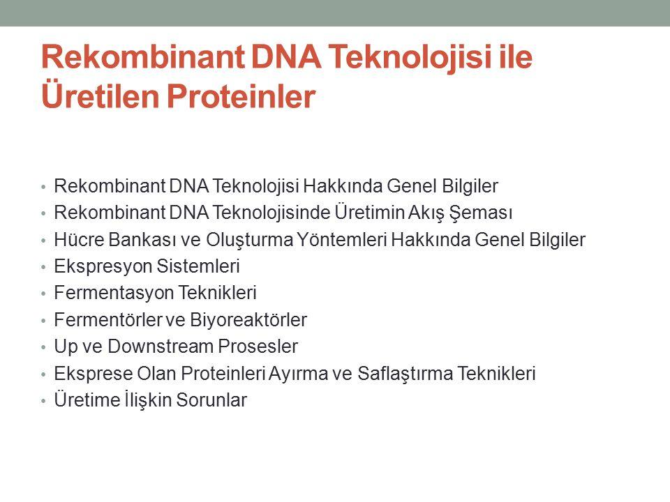 Rekombinant DNA Teknolojisi ile Üretilen Proteinler Rekombinant DNA Teknolojisi Hakkında Genel Bilgiler Rekombinant DNA Teknolojisinde Üretimin Akış Ş