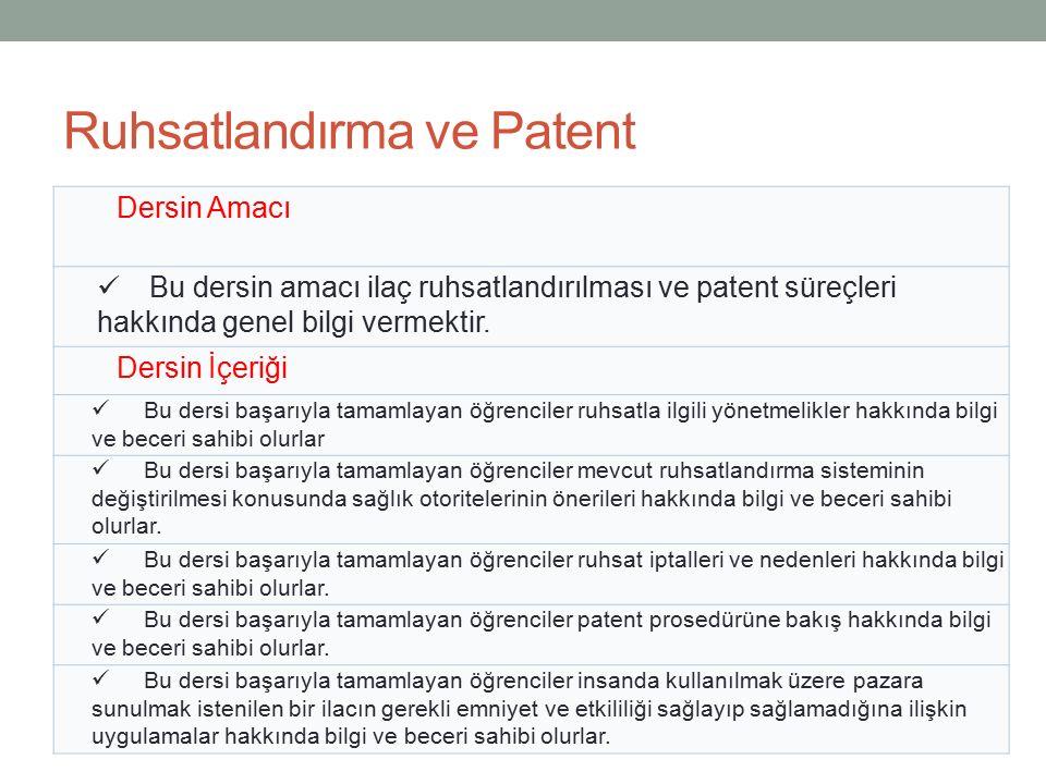 Ruhsatlandırma ve Patent Dersin Amacı Bu dersin amacı ilaç ruhsatlandırılması ve patent süreçleri hakkında genel bilgi vermektir. Dersin İçeriği Bu de