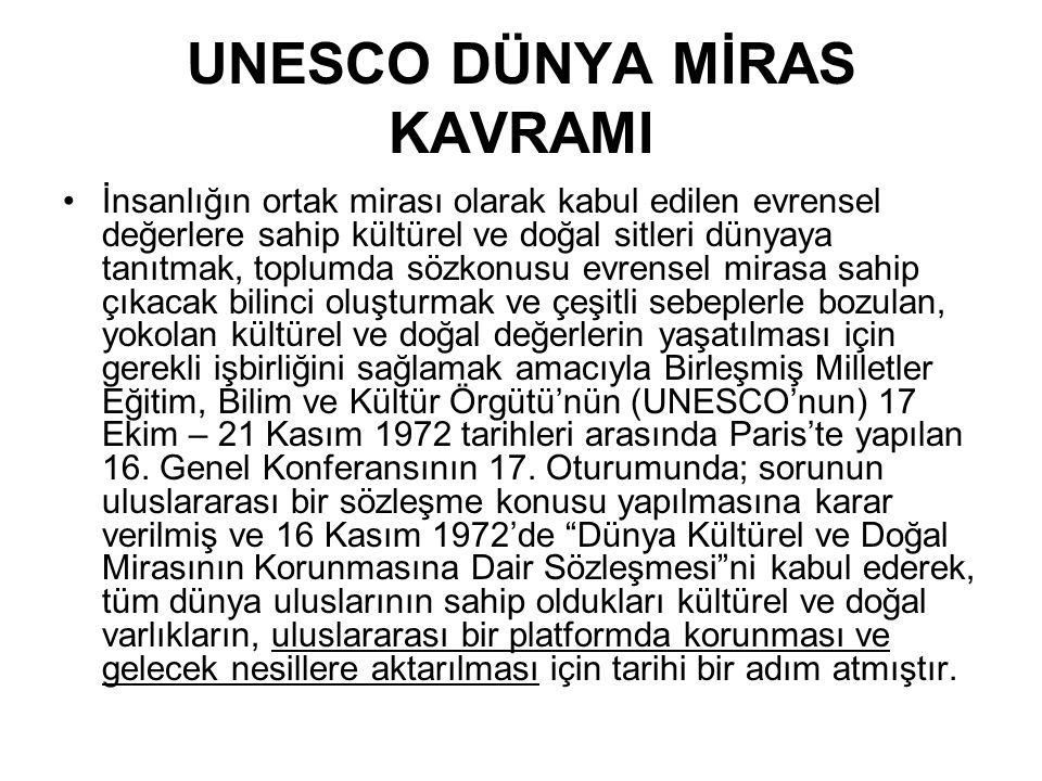 UNESCO DÜNYA MİRAS KAVRAMI İnsanlığın ortak mirası olarak kabul edilen evrensel değerlere sahip kültürel ve doğal sitleri dünyaya tanıtmak, toplumda s