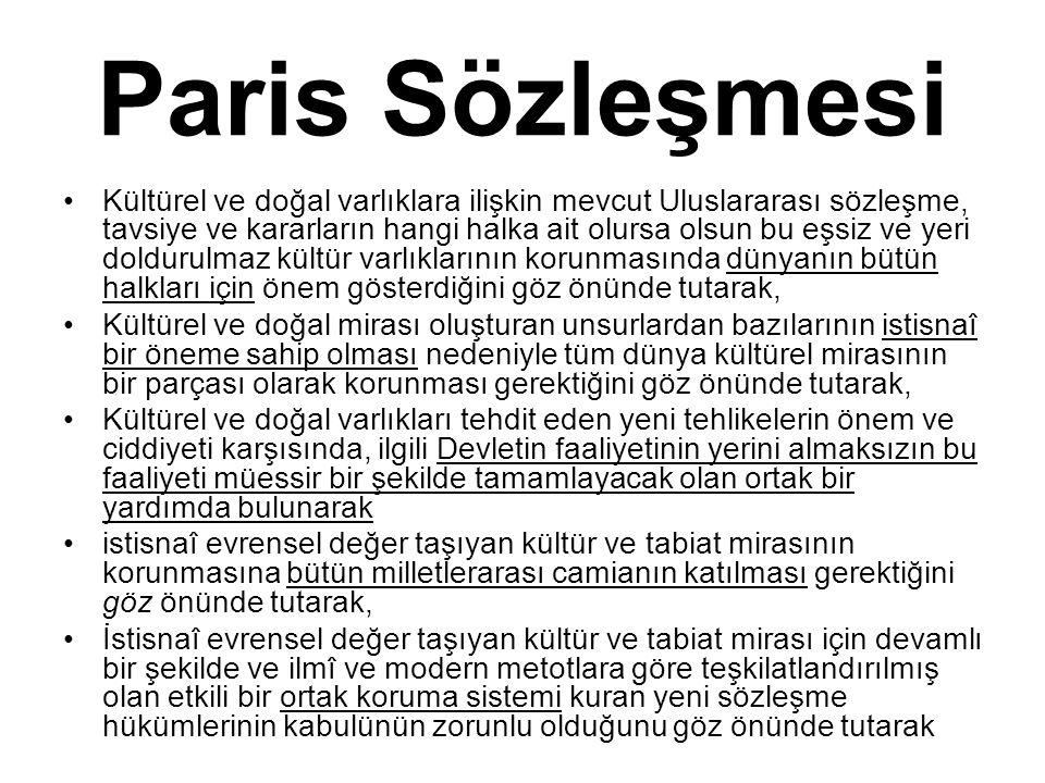 Paris Sözleşmesi Kültürel ve doğal varlıklara ilişkin mevcut Uluslararası sözleşme, tavsiye ve kararların hangi halka ait olursa olsun bu eşsiz ve yer