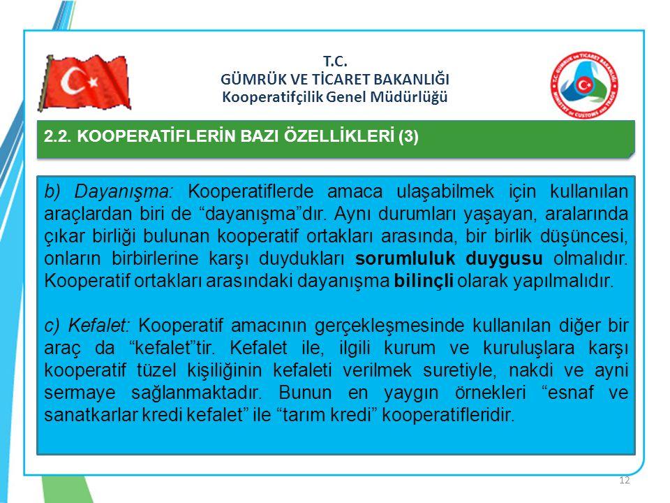 T.C. GÜMRÜK VE TİCARET BAKANLIĞI Kooperatifçilik Genel Müdürlüğü 2.2. KOOPERATİFLERİN BAZI ÖZELLİKLERİ (3) b) Dayanışma: Kooperatiflerde amaca ulaşabi