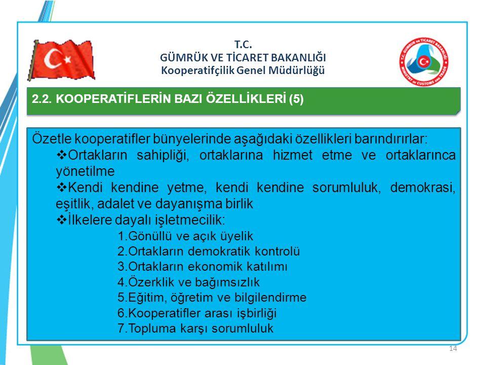 T.C. GÜMRÜK VE TİCARET BAKANLIĞI Kooperatifçilik Genel Müdürlüğü 2.2. KOOPERATİFLERİN BAZI ÖZELLİKLERİ (5) Özetle kooperatifler bünyelerinde aşağıdaki