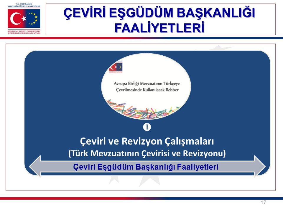  Çeviri ve Revizyon Çalışmaları (Türk Mevzuatının Çevirisi ve Revizyonu) ÇEVİRİ EŞGÜDÜM BAŞKANLIĞI FAALİYETLERİ 17 Çeviri Eşgüdüm Başkanlığı Faaliyetleri