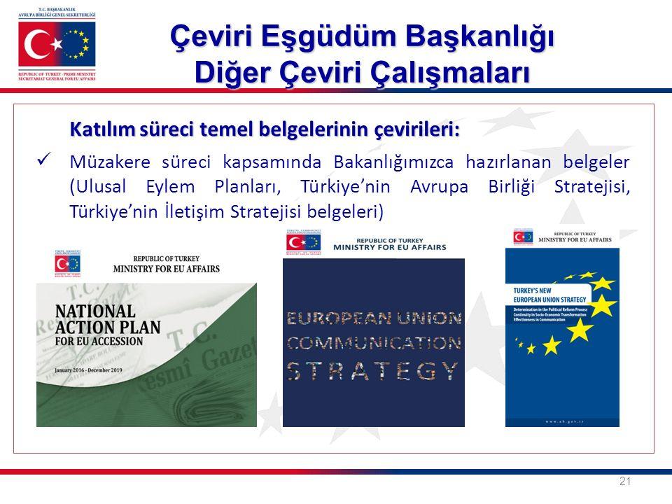 Katılım süreci temel belgelerinin çevirileri: Müzakere süreci kapsamında Bakanlığımızca hazırlanan belgeler (Ulusal Eylem Planları, Türkiye'nin Avrupa Birliği Stratejisi, Türkiye'nin İletişim Stratejisi belgeleri) 21 Çeviri Eşgüdüm Başkanlığı Diğer Çeviri Çalışmaları