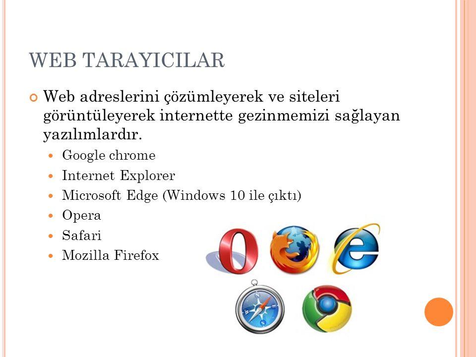 WEB TARAYICILAR Web adreslerini çözümleyerek ve siteleri görüntüleyerek internette gezinmemizi sağlayan yazılımlardır. Google chrome Internet Explorer