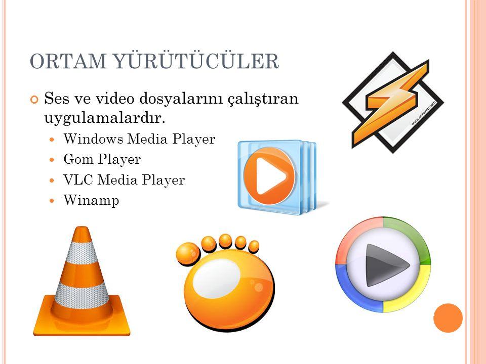 ORTAM YÜRÜTÜCÜLER Ses ve video dosyalarını çalıştıran uygulamalardır. Windows Media Player Gom Player VLC Media Player Winamp