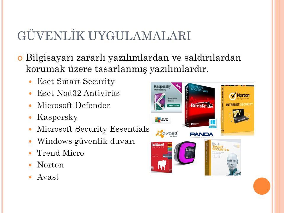 GÜVENLİK UYGULAMALARI Bilgisayarı zararlı yazılımlardan ve saldırılardan korumak üzere tasarlanmış yazılımlardır. Eset Smart Security Eset Nod32 Antiv