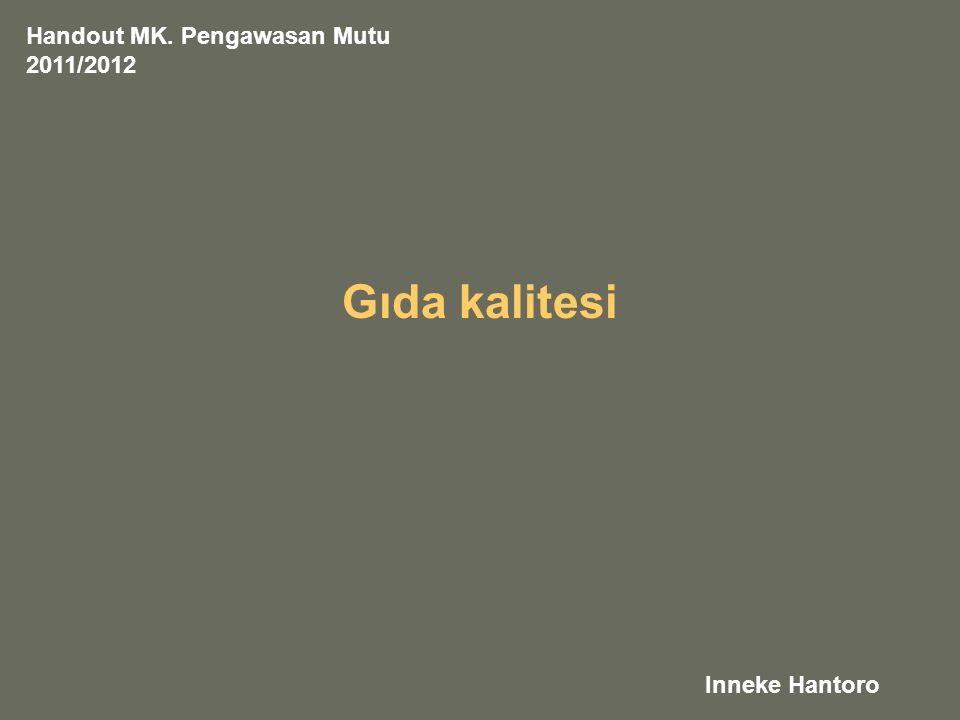 Gıda kalitesi Inneke Hantoro Handout MK. Pengawasan Mutu 2011/2012