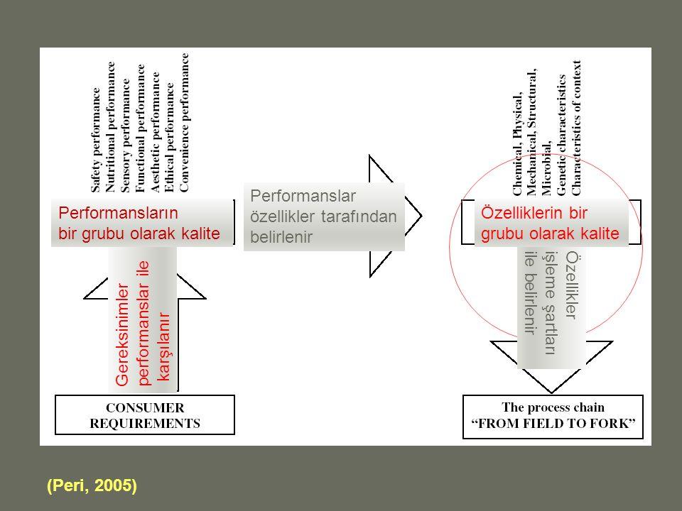 (Peri, 2005) Gereksinimler performanslar ile karşılanır Özellikler işleme şartları ile belirlenir Performanslar özellikler tarafından belirlenir Performansların bir grubu olarak kalite Özelliklerin bir grubu olarak kalite