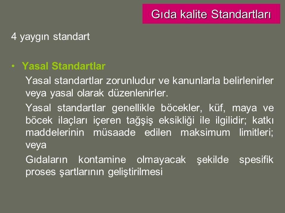 4 yaygın standart Yasal Standartlar Yasal standartlar zorunludur ve kanunlarla belirlenirler veya yasal olarak düzenlenirler.