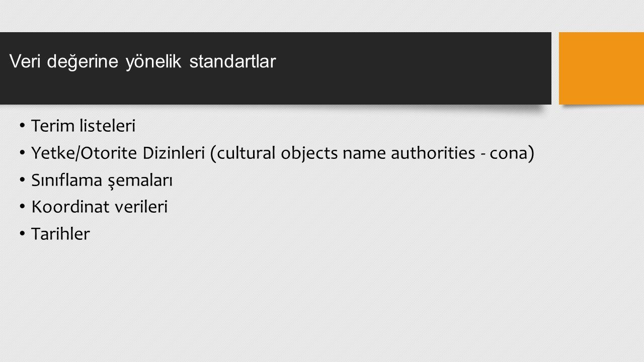 Terim listeleri Yetke/Otorite Dizinleri (cultural objects name authorities - cona) Sınıflama şemaları Koordinat verileri Tarihler Veri değerine yönelik standartlar