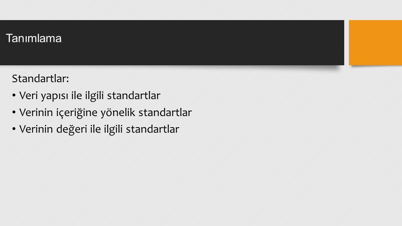 Standartlar: Veri yapısı ile ilgili standartlar Verinin içeriğine yönelik standartlar Verinin değeri ile ilgili standartlar Tanımlama