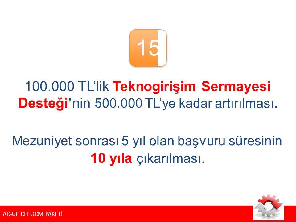 15 100.000 TL'lik Teknogirişim Sermayesi Desteği'nin 500.000 TL'ye kadar artırılması.